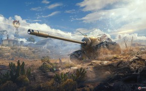 Picture field, tank, cacti, World Of Tanks
