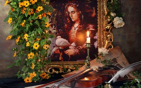 Picture flowers, notes, pen, violin, candle, picture, Andrey Morozov