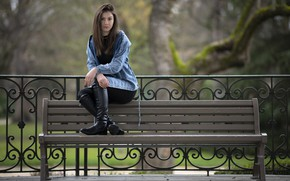 Picture look, girl, Park, model, hair, bench