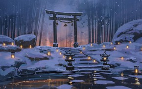 Picture snow, pond, silence, Japan, lights, stage, Japan, winter forest, bamboo forest, torii gate, by Surendra …