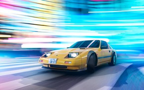 Picture Lights, Yellow, Machine, Skid, Drift, Drift, Car, Render, Rendering, Yellow, Transport & Vehicles, Nissan 300ZX, …