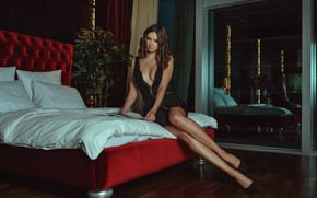 Picture chest, look, pose, bed, Girl, interior, figure, hairstyle, shoes, legs, Disha Shemetova, Sergei Vasiliev