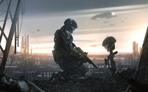 Picture rain, soldiers, helmet, Halo 3, Halo 3: ODST