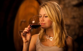 Picture pose, wine, model, glass, hand, makeup, Mike, hairstyle, blonde, beauty, bokeh