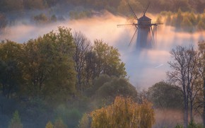 Picture autumn, trees, landscape, nature, fog, dawn, morning, mill, Istra, Vitaly Levykin