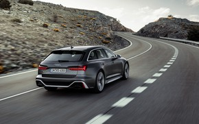 Picture road, Audi, universal, RS 6, 2020, 2019, dark gray, V8 Twin-Turbo, RS6 Avant