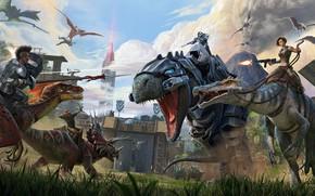 Picture fantasy, game, walls, battle, weapons, digital art, artwork, warriors, fantasy art, fantasy world, creatures, volcano, …