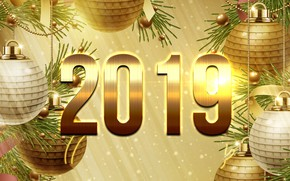 Picture toys, New year, gold, 2019