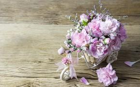 Picture love, flowers, petals, love, pink, vintage, wood, pink, flowers, beautiful, romantic
