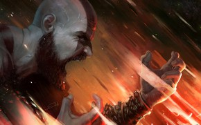 Picture hate, demigod, god of war, weapon, kratos, man, warrior, god, powerful, strong, fury, bald, bearb