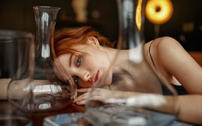 Picture look, girl, table, red, vessels, Ivan Kovalev