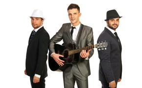 Picture guitar, white background, trio, three, men, hats, costumes, ties, jackets