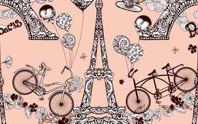 Picture background, Love, Paper, Paris, Travel, Pattern, Ornament, Seamless