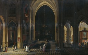 Picture oil, interior, picture, 1636, Peter Nevs, Pieter Neeffs, A Church interior by candlelight
