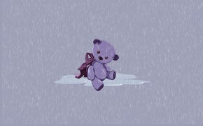 Picture loneliness, rain, toy, figure, toy, teddy bear, Teddy bear, by Pyrus-acerba