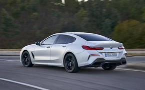 Picture forest, white, coupe, speed, BMW, Gran Coupe, 840i, 8-Series, 2019, the four-door coupe, Eight, G16
