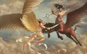 Picture weapons, figure, angels, art, the battle