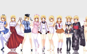 Picture girls, Alice, schoolgirl, kimono, priestess, nurse, police, striped stockings, Peroni, by Tony Taka