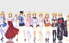 Picture girls, Alice, schoolgirl, kimono, priestess, nurse, police, striped stockings, Peroni, by Tony Taka