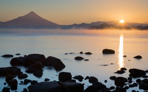 Picture the sun, sunset, mountains, nature, fog, stones, dawn, shore, top, pond, Chile, Andes, Patagonia