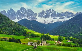 Picture forest, trees, mountains, rocks, field, Italy, houses, meadows, The Dolomites