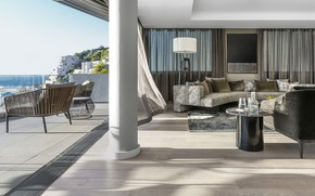 Picture Villa, interior, terrace, living room, by OKHA, apartment Clifton 301, Luxurious living area
