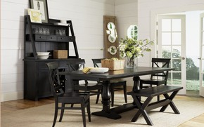 Picture house, table, chairs, interior, pictures, dining room