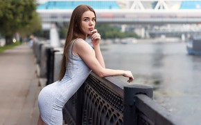 Picture look, girl, pose, river, model, portrait, makeup, figure, dress, hairstyle, brown hair, is, promenade, the …