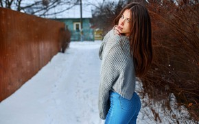 Picture winter, ass, girl, snow, face, street, hair, the fence, jeans, jacket, long hair, beautiful girl, …