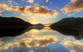 Picture the sun, mountains, lake, morning