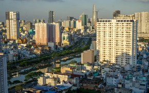 Picture the sky, the sun, river, building, home, Vietnam, Ho Chi Minh City