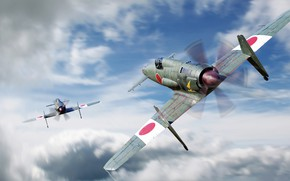 Picture fighter-interceptor, BBC Japan, Kyushu J7W Shinden, японский поршневой, Iakov Aizenberg