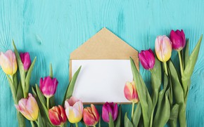 Picture flowers, colorful, tulips, pink, wood, pink, flowers, the envelope, tulips, spring, purple