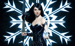 Picture girl, sword, snowflake