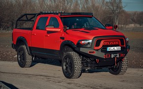 Picture red, Dodge, pickup, 1500, Ram, Crew Cab, Limited, winch, JB Car Design