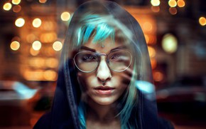 Picture look, night, close-up, face, lights, background, model, portrait, makeup, piercing, glasses, jacket, hairstyle, hood, bokeh, …