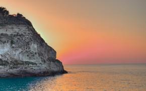 Picture sky, sea, landscape, Italy, sunset, Tropea, Calabria, Santa Maria Church on Isola Bella