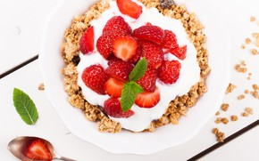 Picture Breakfast, strawberry, yogurt, granola