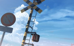 Picture the sky, sign, railway crossing