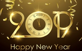 Picture gold, New Year, figures, golden, background, New Year, Happy, sparkle, 2019