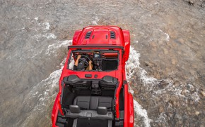 Picture water, red, stream, stones, the bottom, cabin, 2018, Jeep, Wrangler Rubicon