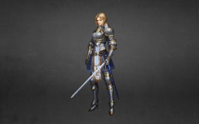 Picture Girl, Minimalism, Blonde, Armor, Girl, Sword, Warrior, Beautiful, Warrior, Knight, Blonde, Beautiful, Knight, Minimalism, Sword, …