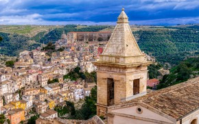 Picture building, tower, home, Italy, panorama, Italy, Sicily, Sicily, Ragusa, Ragusa
