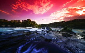 Picture nature, switzerland, long exposure, rhinefall, graduated filters, silky effect