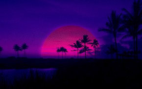 Picture Sunset, The sun, The evening, Music, Style, Palm trees, Background, 80s, Style, Illustration, 80's, Synth, …