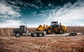 Picture sand, transportation, tractor, CAT, Caterpillar, loader, front loader, Cat CT660, tral, Caterpillar 966H