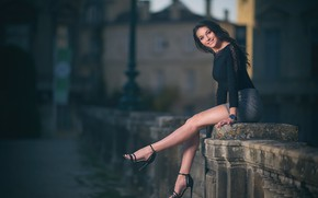 Picture girl, sexy, smile, studs, promenade, figure, cute, Laws, beautiful legs
