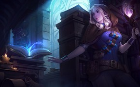 Picture girl, magic, book, Lux, League Of Legends