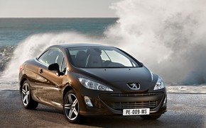 Picture sea, auto, water, squirt, Peugeot, 308