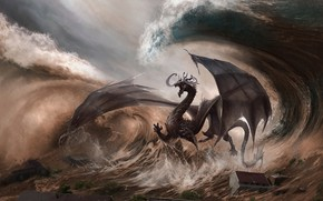 Picture The city, Dragon, Wave, Fantasy, Dragon, Art, Fiction, Illustration, Element, Creatures, Godfrey Escota, by Godfrey …